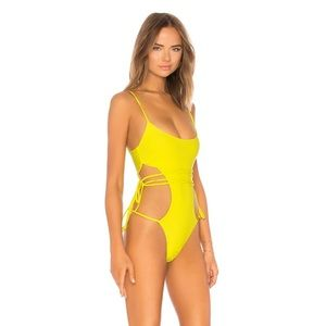 Lovers + Friends Swim - TIED UP ONE PIECE IN YELLOW